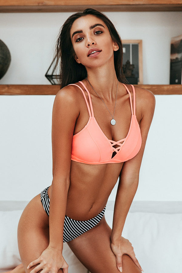 Peachy and Striped High Leg Bikini