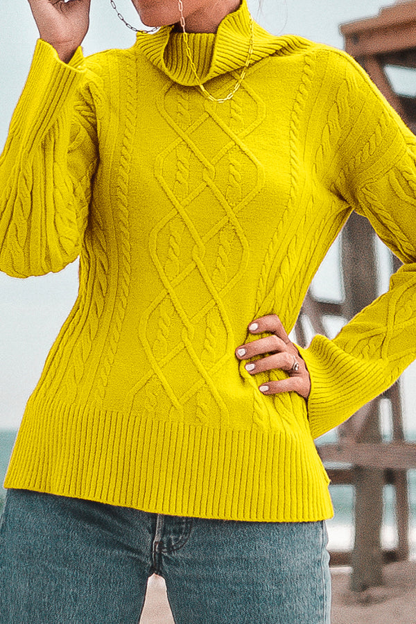 Yellow Cable Knit Turtleneck Sweater