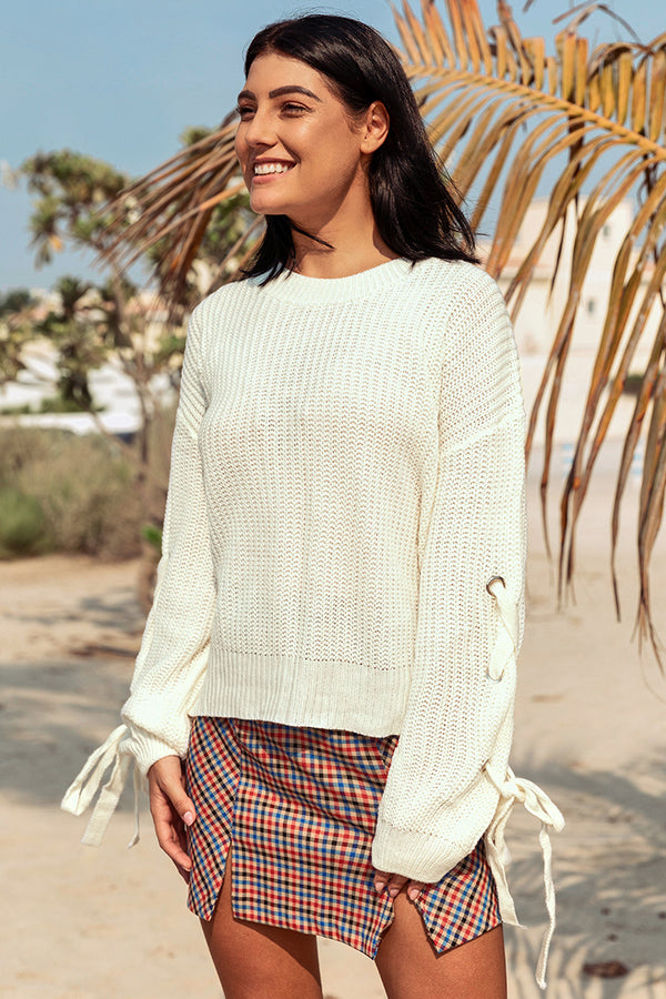 White Lace Up Sleeve Sweater