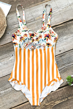 Orange Floral and Stripe One-Piece Swimsuit