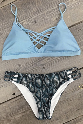 Cupshe Salty Seabreeze Lace Up Bikini Set