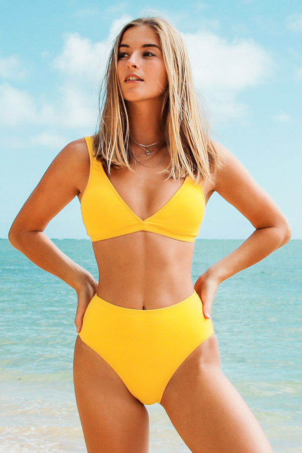 Yellow Double V High Waisted Bikini