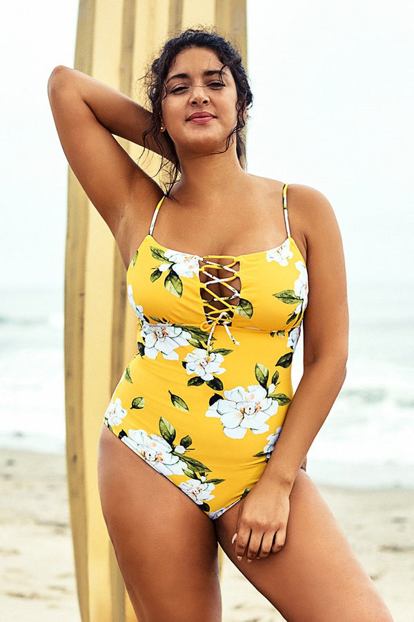 Yellow Floral Plus Size One Piece Swimsuit