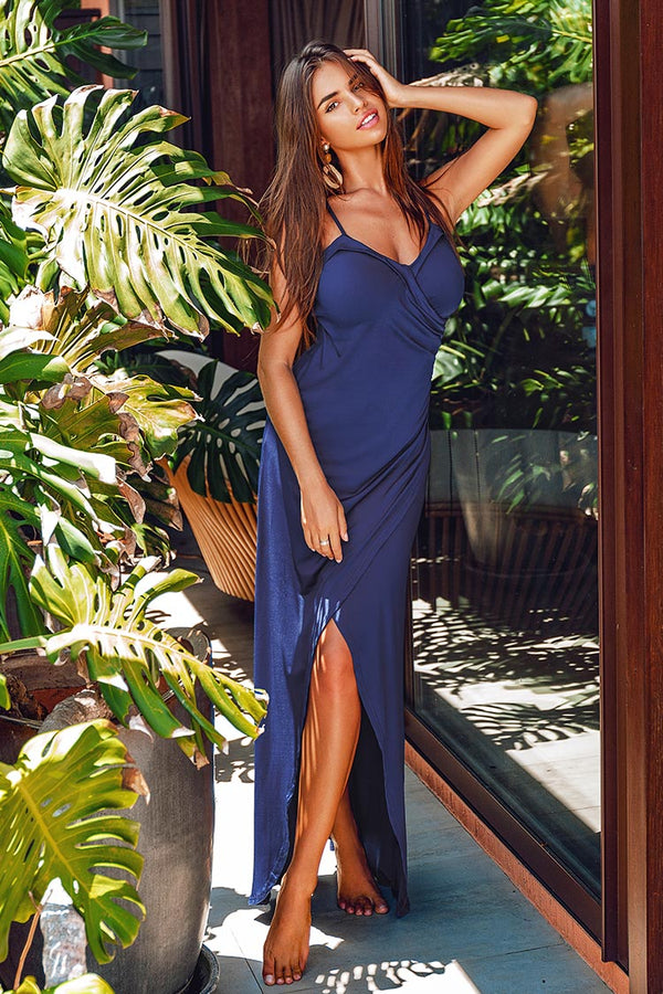 Navy Draped Side Slit Dress
