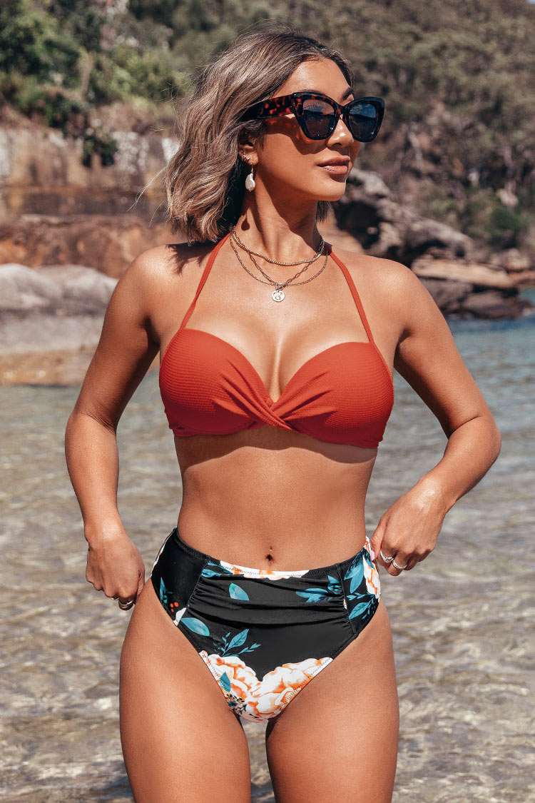 Orange Twist Halter Bikini Top