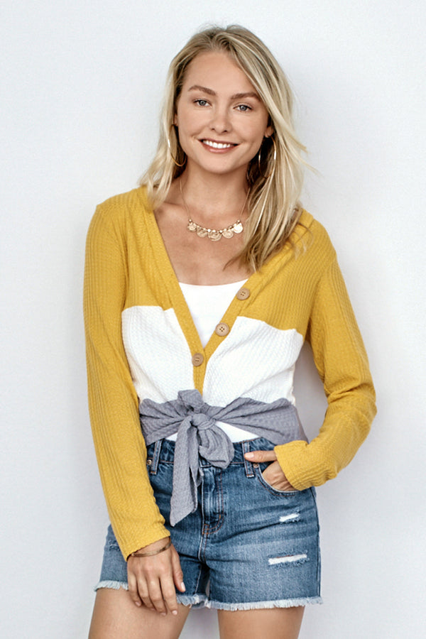 Yellow White and Gray Waffle Knit Cardigan