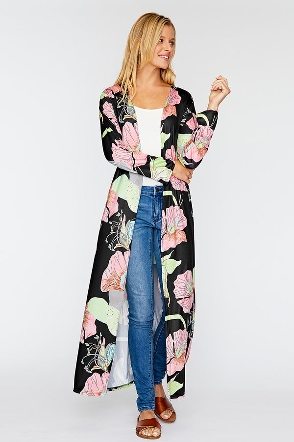 Black and Pink Floral Print Long Cover Up