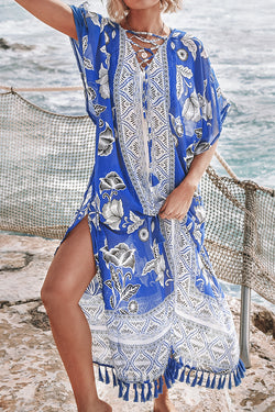 Blue and White Floral Print Cover Up