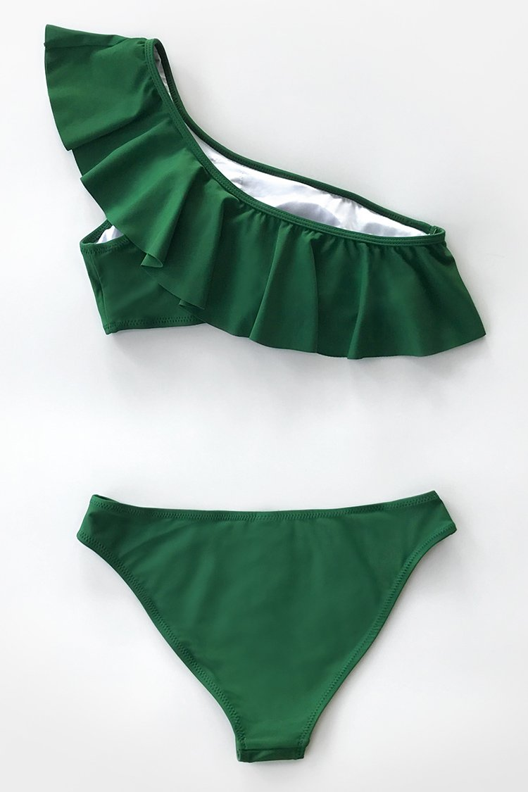 Green Ruffled One Shoulder Bikini