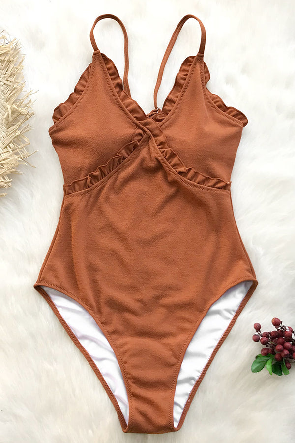 Sweet Caramel Ruffles One-Piece Swimsuit