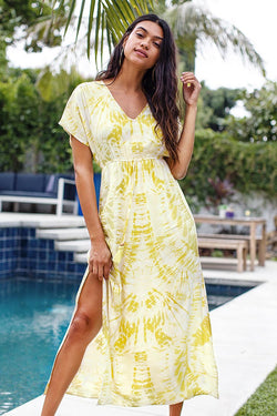 Yellow Tie-Dye V-Neck Maxi Dress