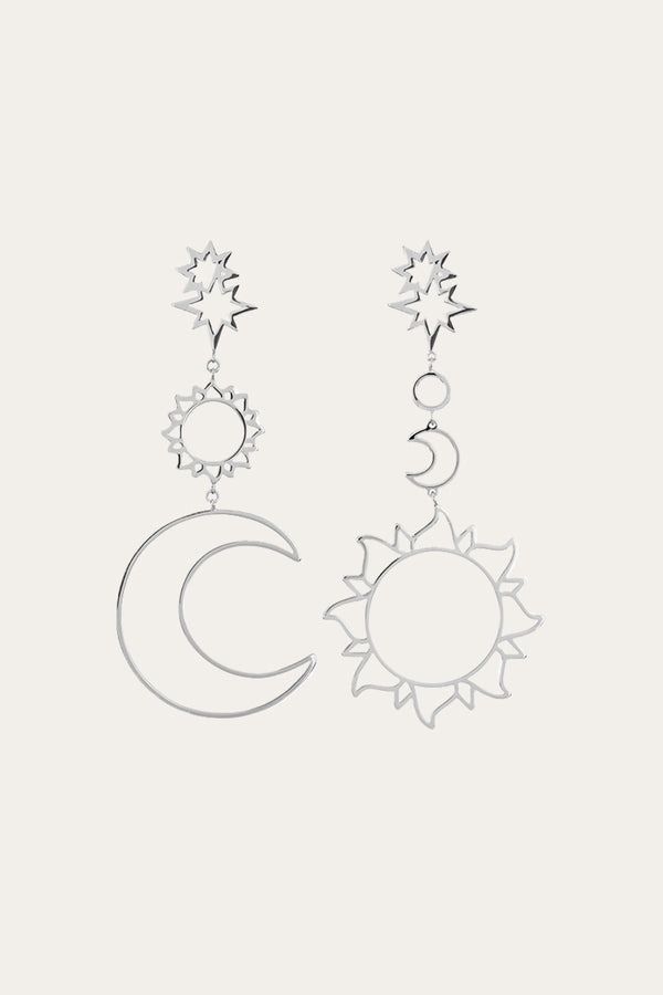 Silver Sun Star And Moon Earrings