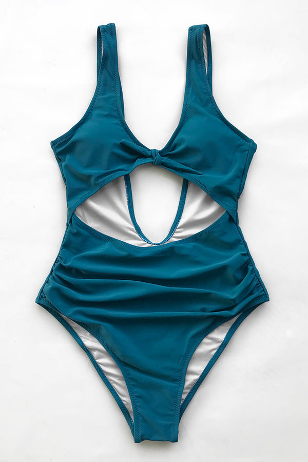 Moody Blue Front-Knot One-Piece Swimsuit