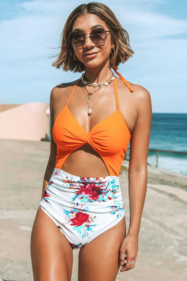 Orange Floral Lace-up Halter One Piece Swimsuit