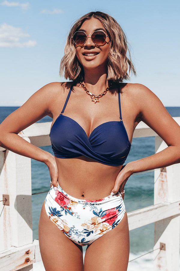 Navy Wrap Lace Up Bikini Top