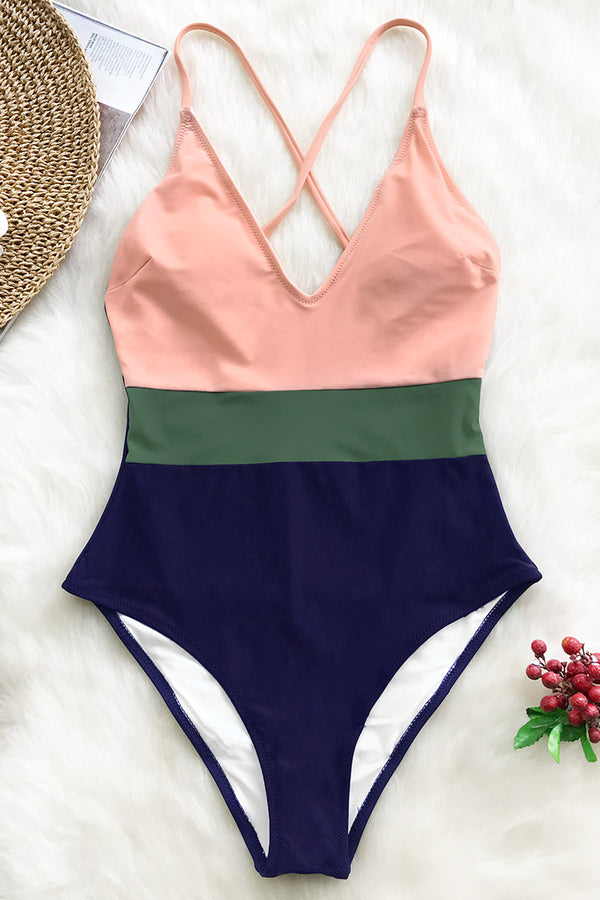 Cross Block One-piece Swimsuit