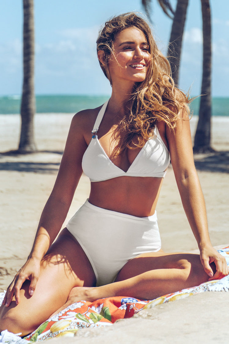 Solid White High-Waisted Bikini
