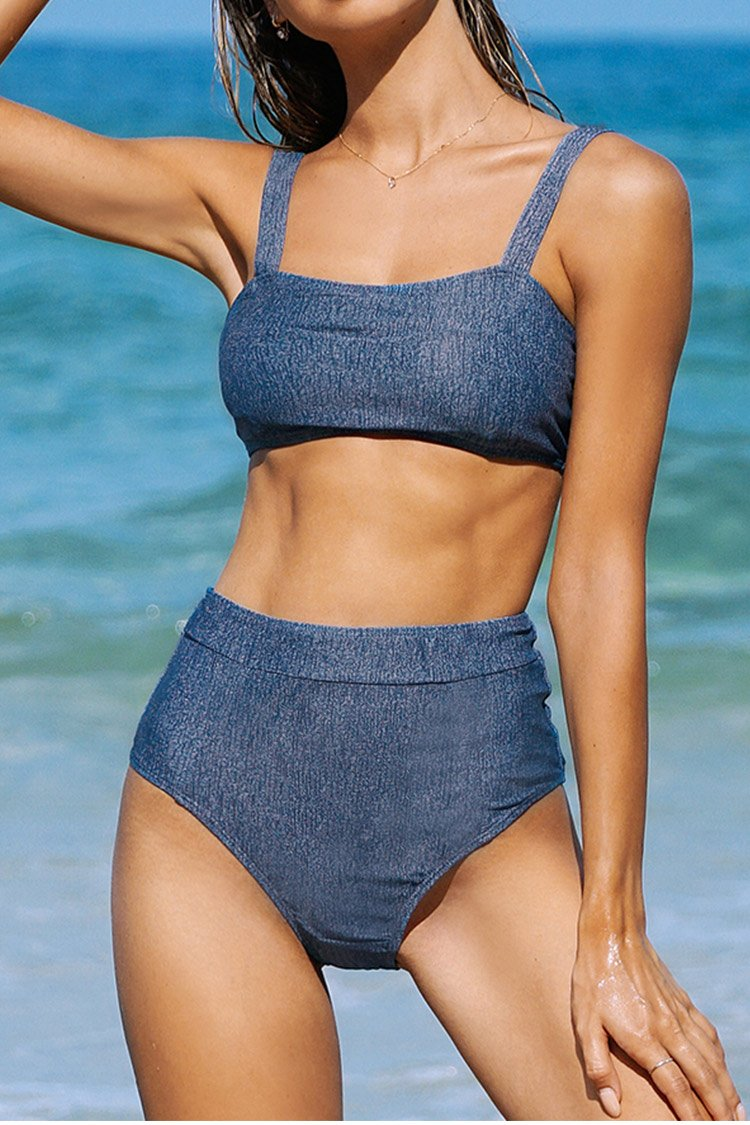 Denim Blue High-Waisted Bikini