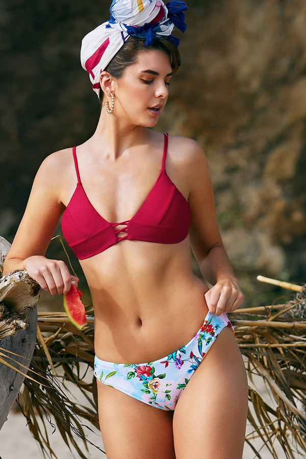 Red and Floral Lace Up Bikini