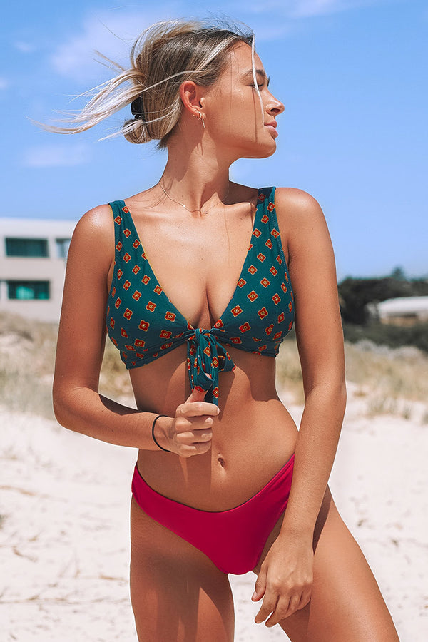 Retro Mini Floral V-neck Bikini