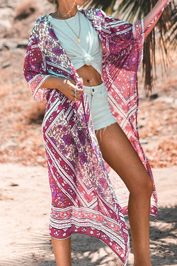 Pink Floral Kimono Cover Up