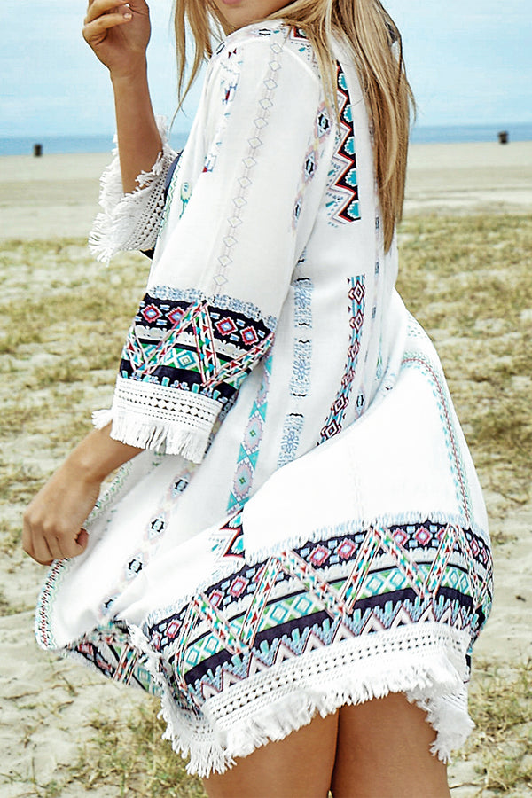 White Print Cover Up with Fringe Trim