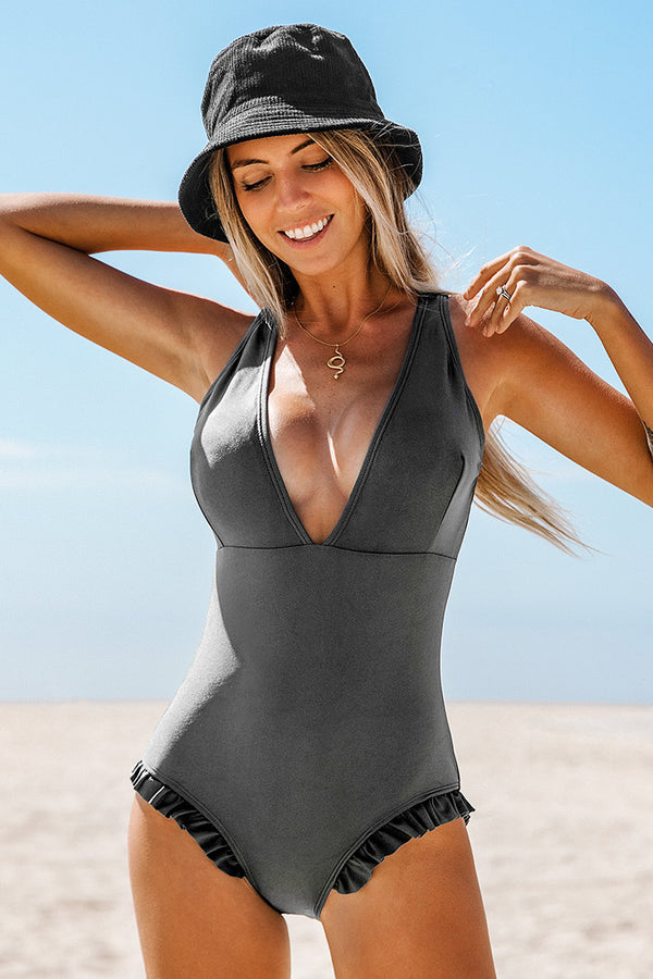 Sweet Smile Solid One-piece Swimsuit
