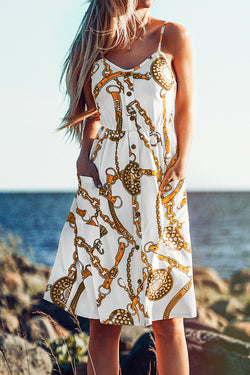 Chain and Belt Print Dress with Pockets