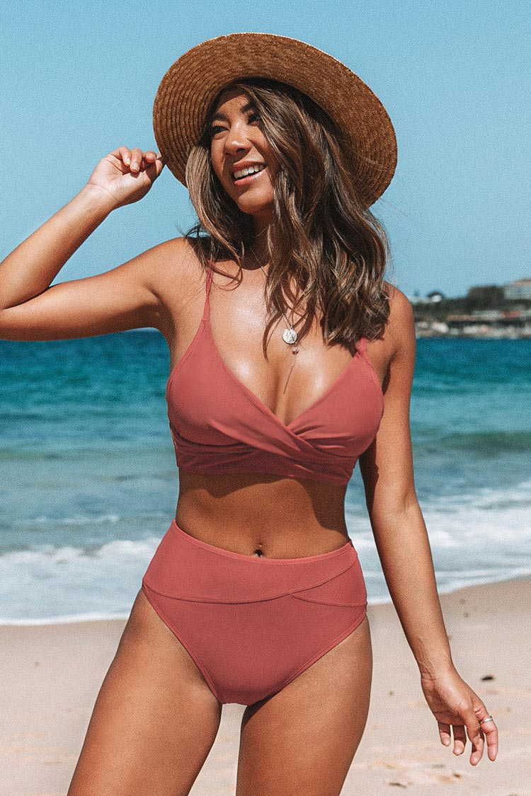 Marsala Twist High-Waist Bikini