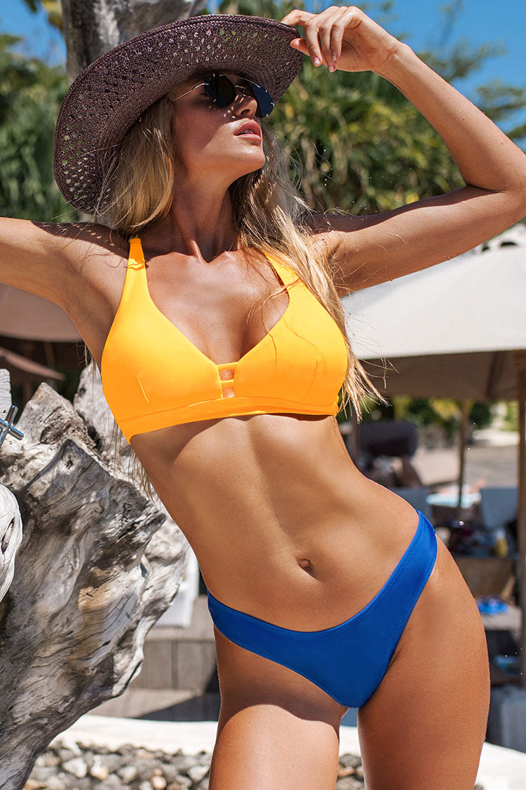 Yellow and Blue Strappy Bikini