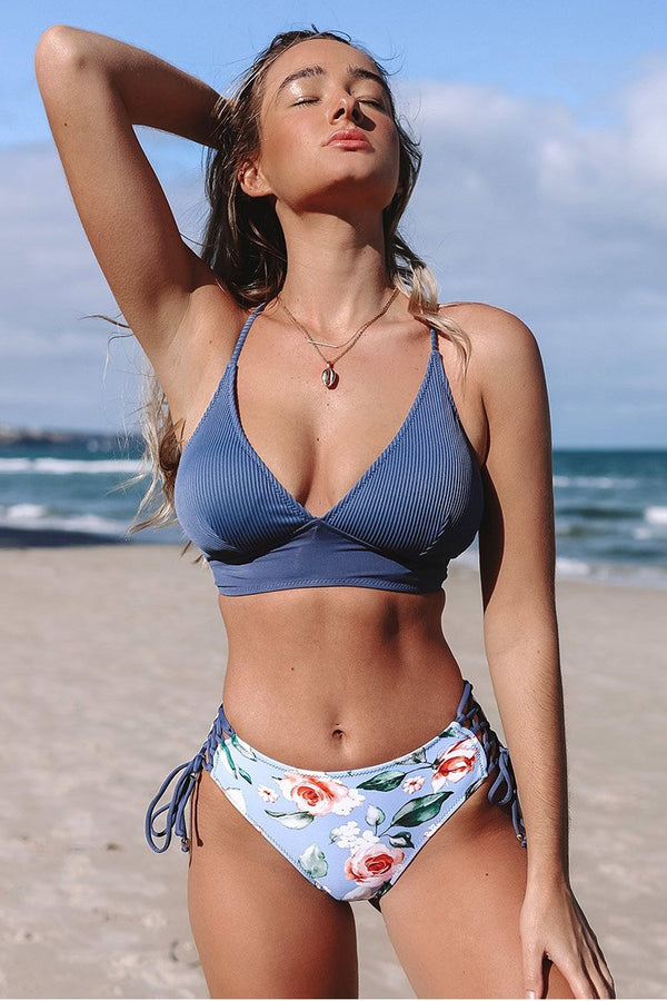 Blue And Floral Lace-Up Bikini