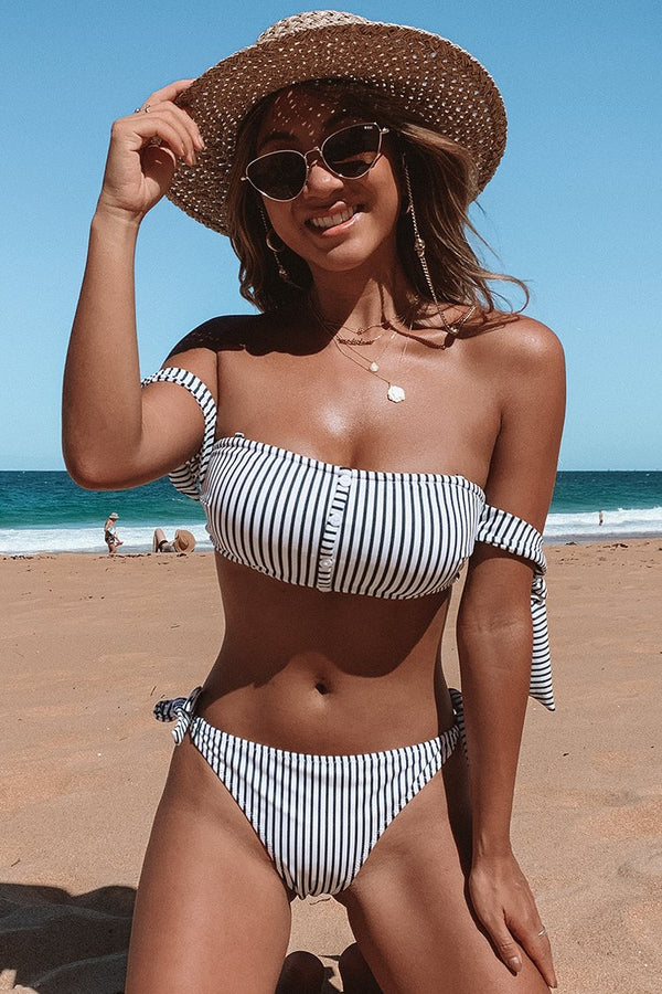 Green And White Stripe Off-The-Shoulder Bikini