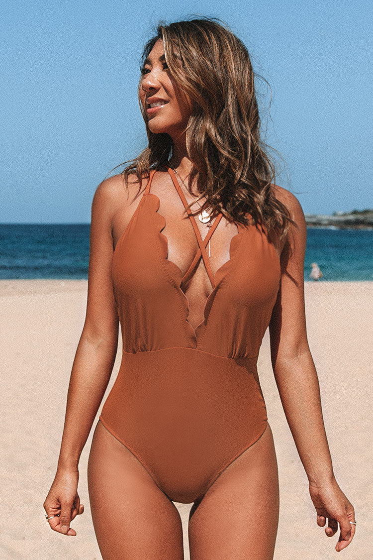 Scalloped Deep V-Neck Strappy One-Piece Swimsuit