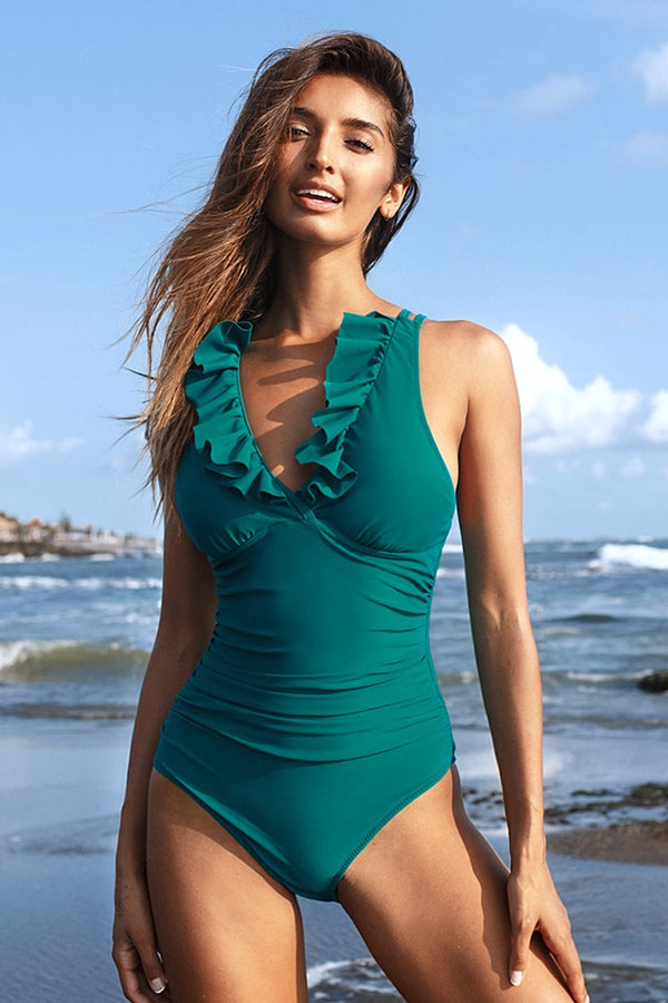 Teal Ruffle Strappy One Piece Swimsuit