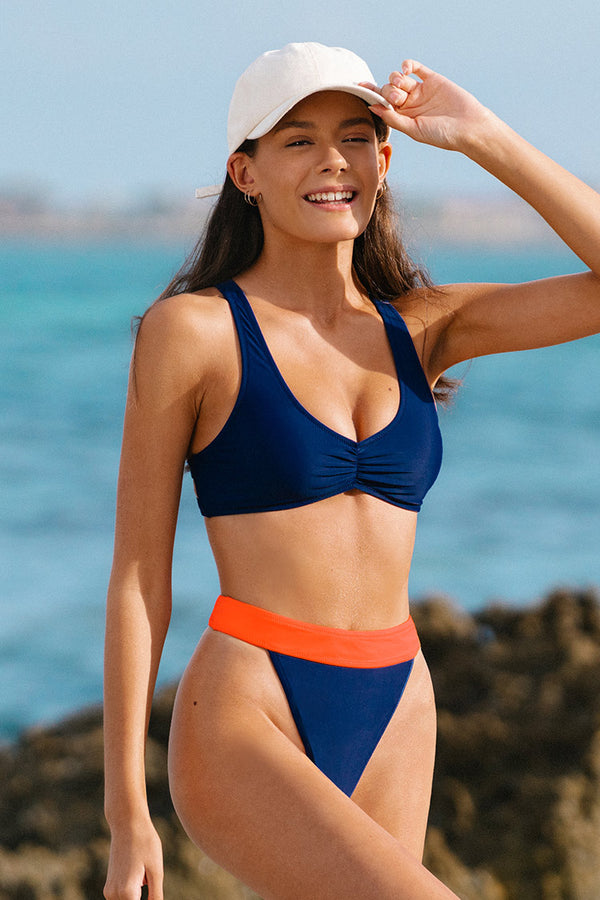 O-ring Contrast Waist High Waisted Bikini