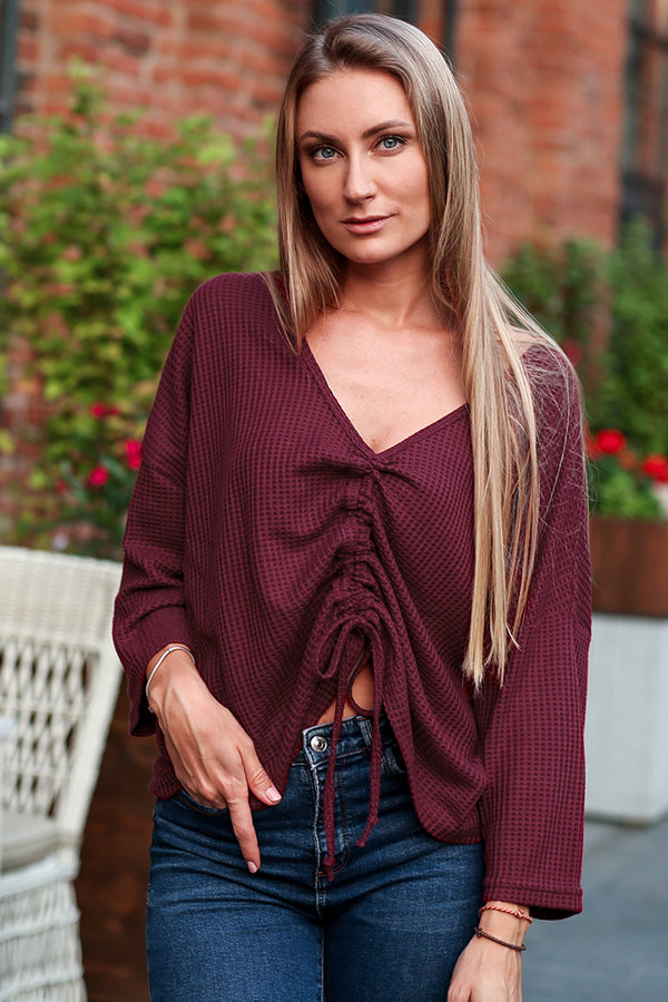 Red Cinched V-neck Top