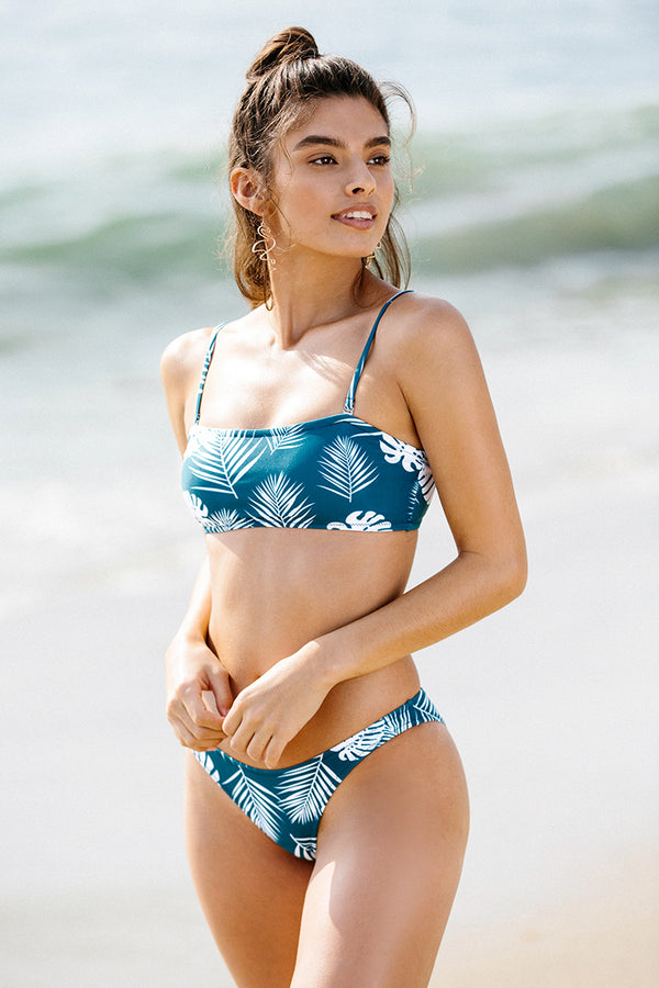 Blue Tropical Love Bandeau Bikini