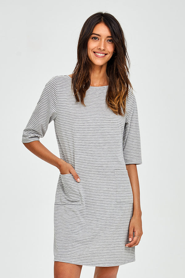Gray Striped Dress With Pockets