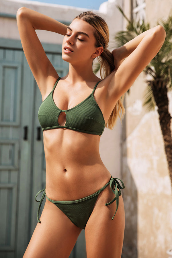 Olive Side Ties Bikini Bottom