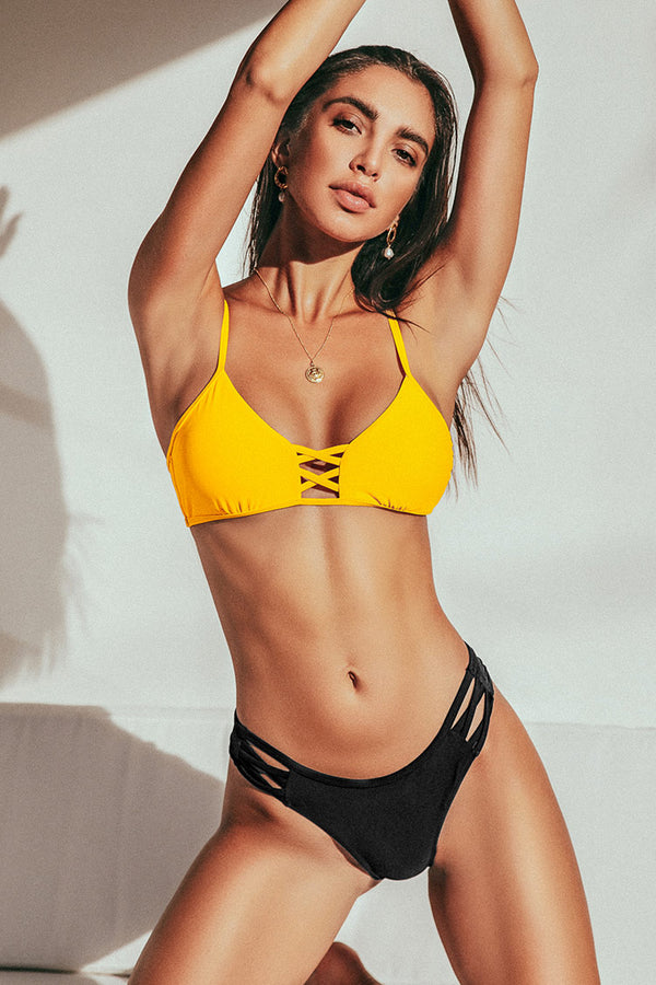 Yellow and Black Strappy Bikini
