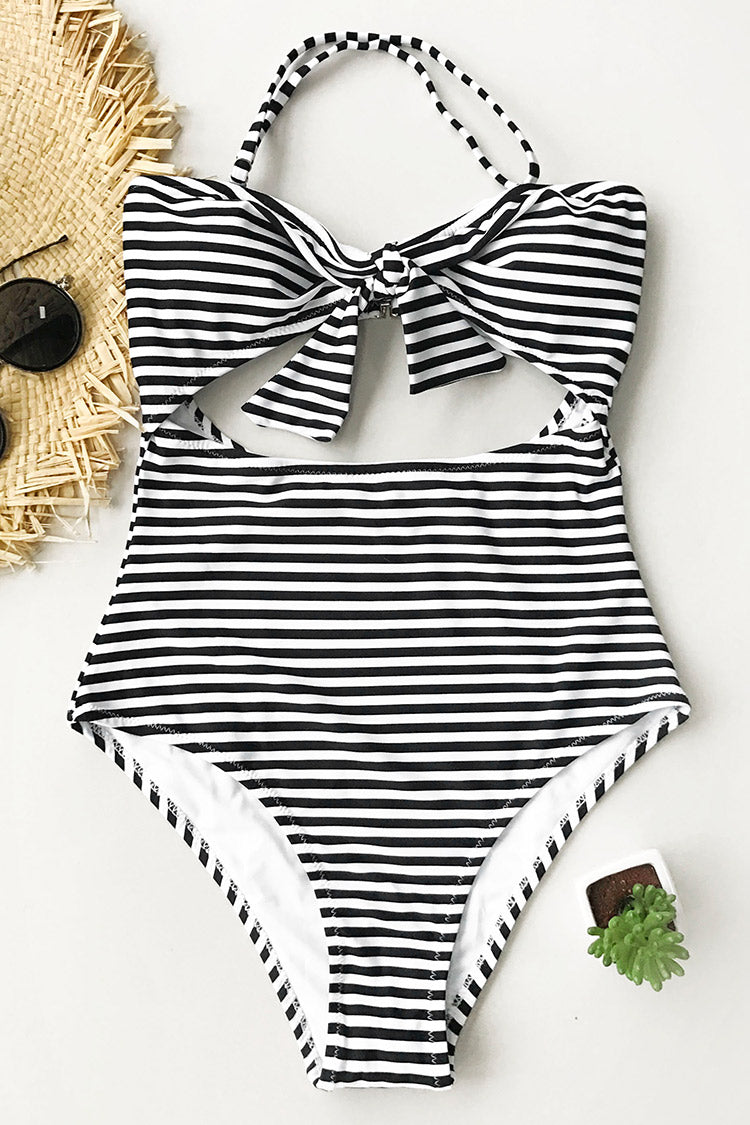 Neat As a Pinstripe Halter One-piece Swimsuit