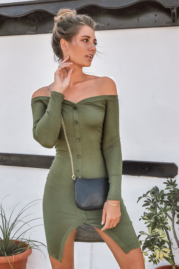 Olive Green Off-The-Shoulder Bodycon Dress