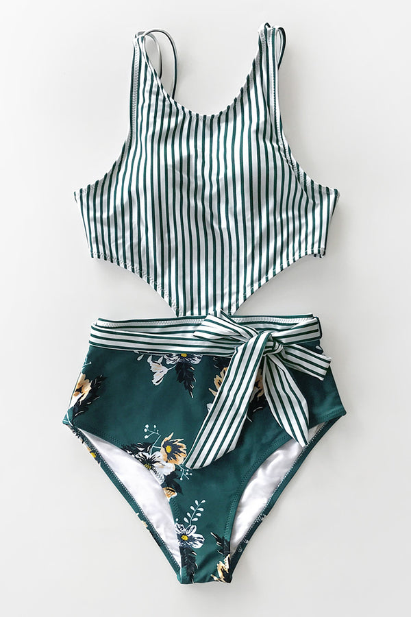 Stripe and Floral Waist Cutout One-Piece Swimsuit