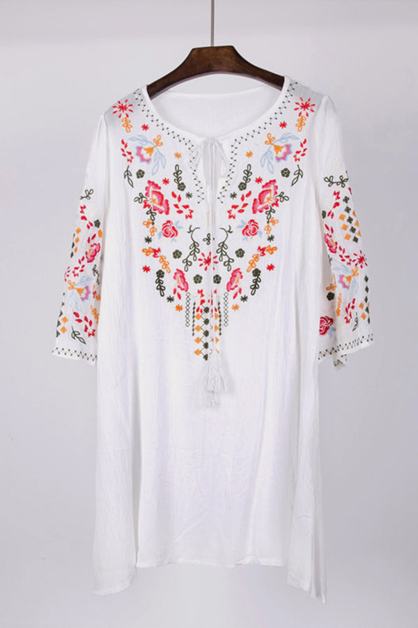 White Floral Embroidery Dress