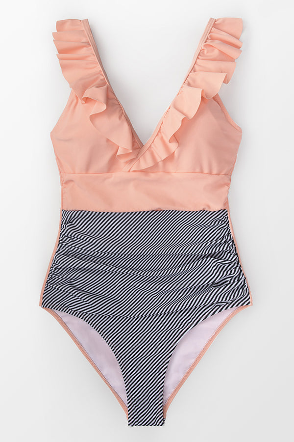 Peach and Striped Plunging One-Piece Swimsuit