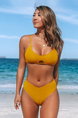 Flirty Golden Cutout Bikini