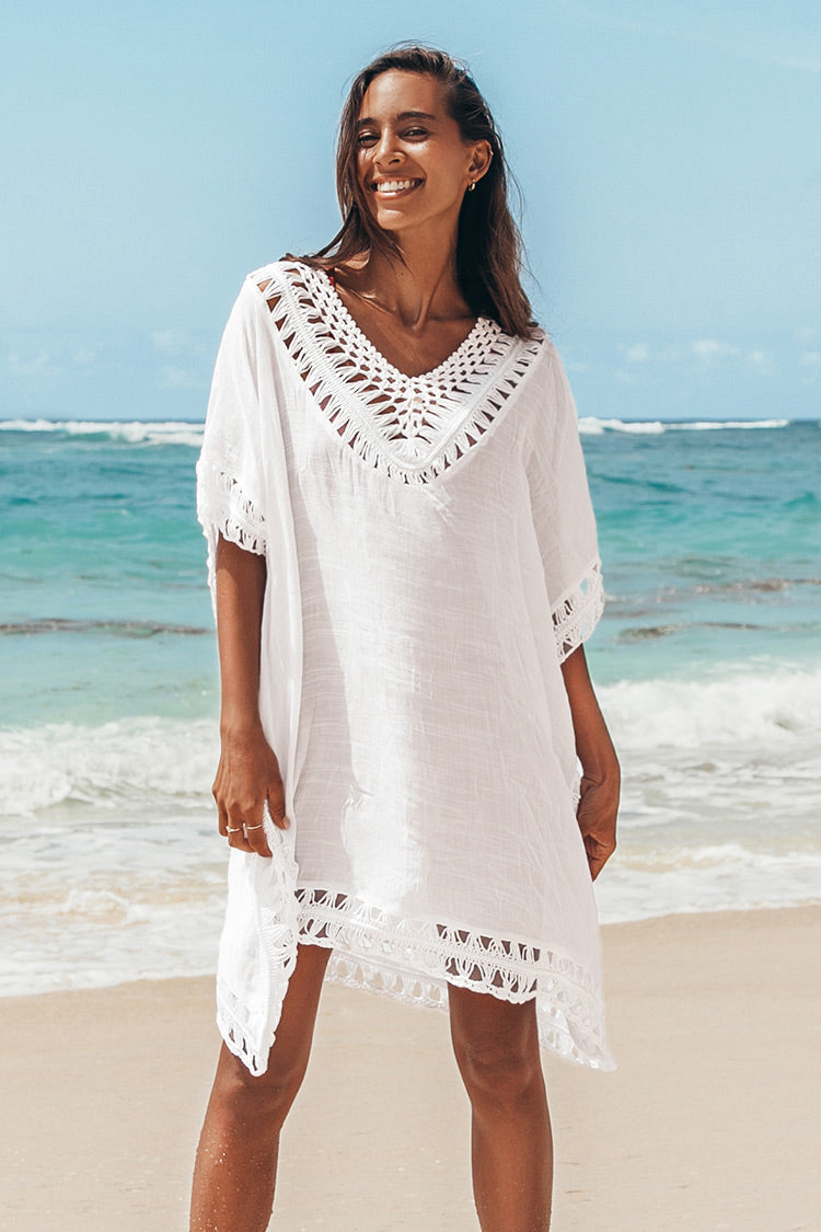 White Crochet Dolman Sleeve Cover Up