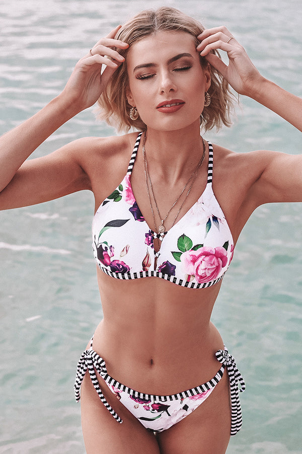 Floral and Striped Strappy Bikini