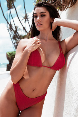 Red Smocked Triangle Bikini