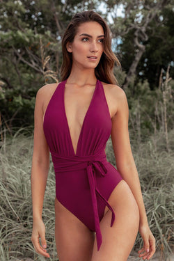 Red Deep V-neck One-Piece Swimsuit